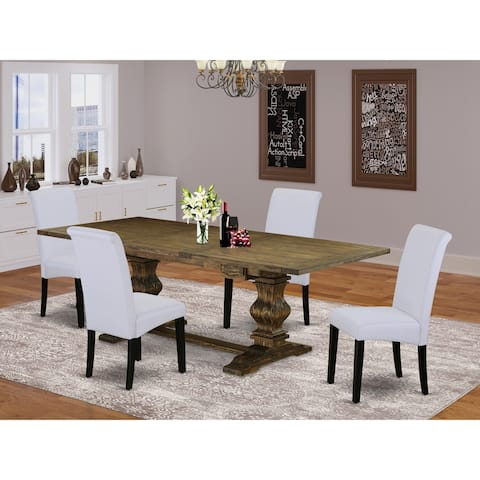 Kitchen Dining Set with Rectangle Table and Parson Chairs