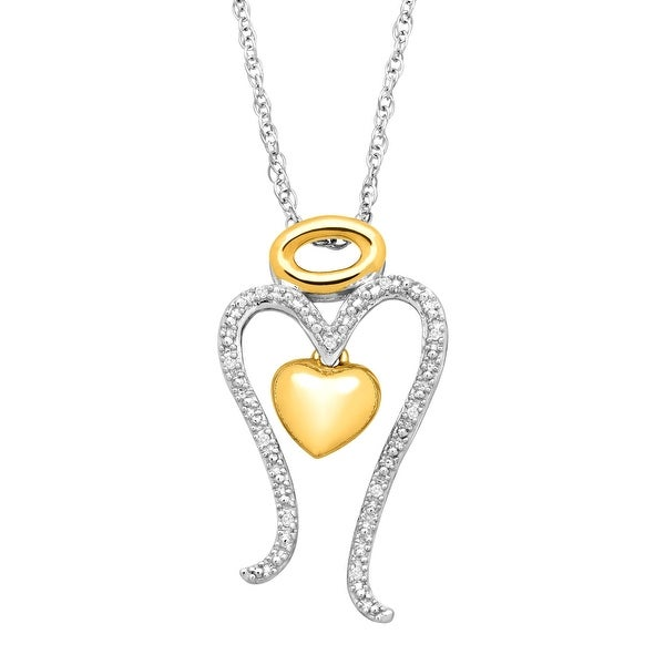 Angel Wings & Heart Pendant with Diamonds in 14K Gold-Plated Sterling Silver