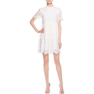 Kendall + Kylie Womens Babydoll Dress Lace Overlay Short Sleeves