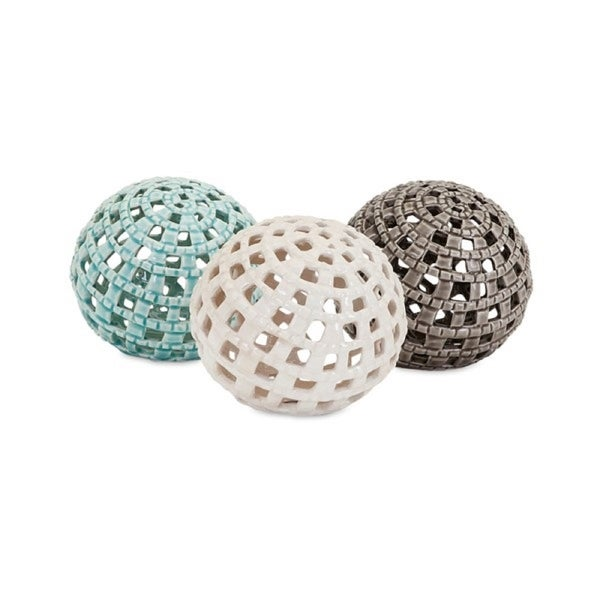 """Set of 3 Subtle Colored Indoor Outer Bank Spheres 4.5"""" - N/A"""