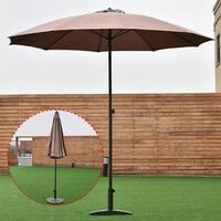 Costway 8.2Ft Height Adjustable Outdoor Patio Umbrella Market Sun Shade Beech Tan