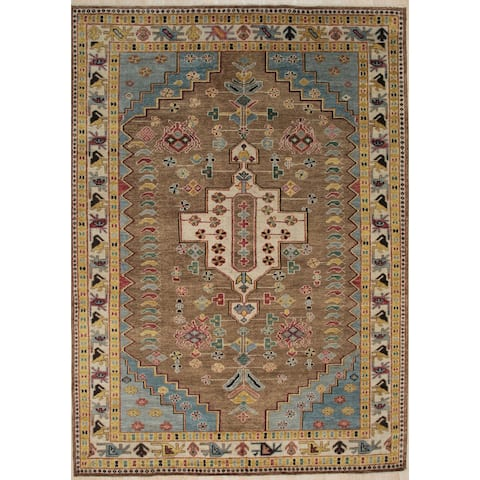 Handknotted Wool BROWN Traditional Medallion Traditional Knot Rug - 8'6 x 11'6 - 8'6 x 11'6
