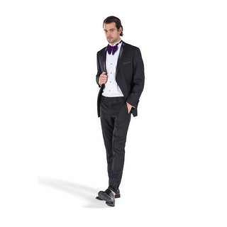 Porto Filo Men's 2 Pcs Black Tuxedo Classic Fit Suit (Jacket+ Pant)