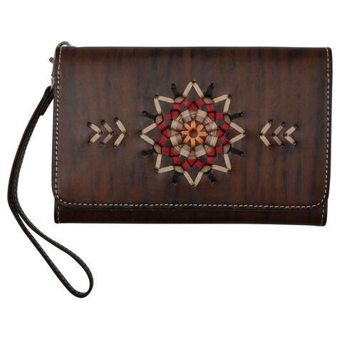 Angel Ranch Western Wallet Womens Starburst Wristlet Brown - Antique Brown - One Size