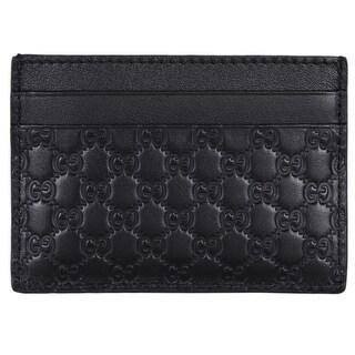 """Gucci Men's 262837 Black Leather Micro GG Guccissima Small Card Case - 4"""" x 2.75"""""""