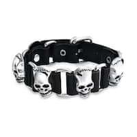 Bling Jewelry Leather Goth Steel Link Belt Buckle Alien Skull Bracelet