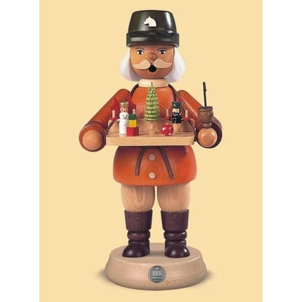 "8.5"" Muller Collectible German Male Toy Seller Smoking Man Wooden Christmas Smoker - ORANGE"