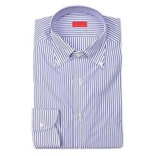 Isaia Mens Blue Bengal Striped Cotton Button Down Shirt