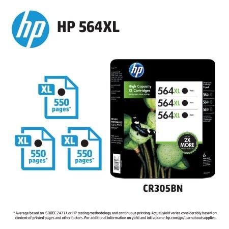 HP 564XL Black Inkjet Cartridge - 3 pk.
