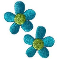 Turquoise Flowers 2/Pkg - Iron-On Appliques