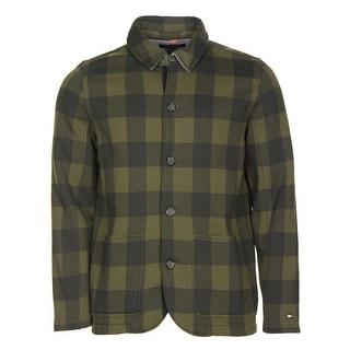 Tommy Hilfiger Fleece Plaid Shirt Jacket Outback Green Medium M