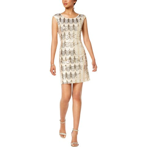 Connected Apparel Womens Cocktail Dress Sequined Mini