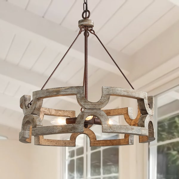Handmade 3-lights Chandelier with Drum Farmhouse Pendant for Kitchen Island. Opens flyout.