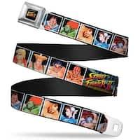 Street Fighter Ii Logo Full Color Black Street Fighter Ii 12 Fighter Blocks Seatbelt Belt