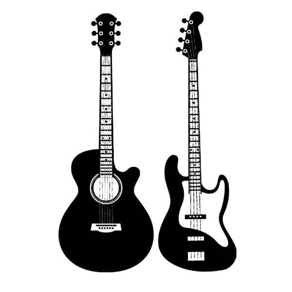 Shop Pvc Guitar Print Diy Self Adhesive Wall Sticker Wallpaper Mural Black 35 4 X 23 6 L W Overstock 28898241