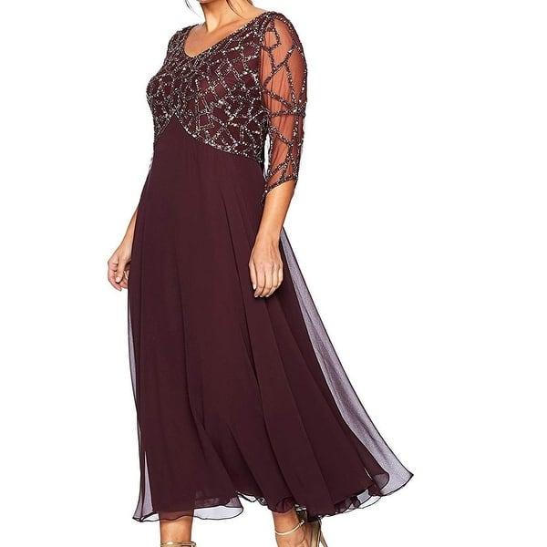 Shop J Kara Women\'s Dress Purple Size 16W Plus Beaded V-Neck ...