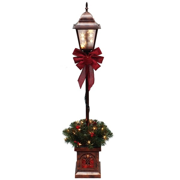 Santas Forest 17049 Christmas Topiaries Holiday Lamppost, 4'', Clear