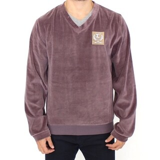 Cavalli Cavalli Purple v-neck cotton sweater
