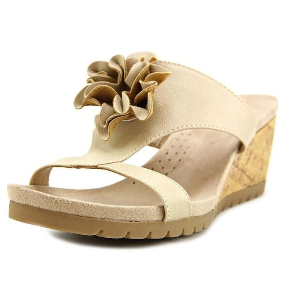 Life Stride Notice Women Open Toe Synthetic Nude Wedge Sandal