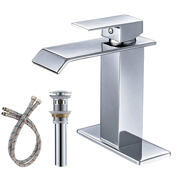 Single-Hole Low-Arc Bathroom Faucet with Drain. Opens flyout.
