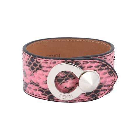 Fendi Women's Pink Python Leather Bracelet Silver Hardware 8AG230