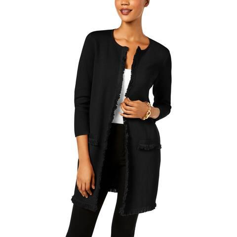 Anne Klein Womens Cardigan Sweater Fringe Long Sleeves - S