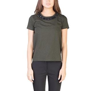 Prada Women's Cotton Beaded Collar T-Shirt Green