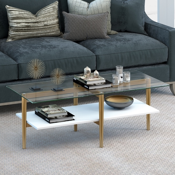 Otto Mid-Century Glam Coffee Table in Gold with White Lacquer Shelf. Opens flyout.