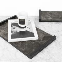 FloralGoods Black Modern Marble Pattern Wood Tray
