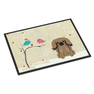 Carolines Treasures BB2574MAT Christmas Presents Between Friends Pekingnese Tan Indoor or Outdoor Mat 18 x 0.25 x 27 in.