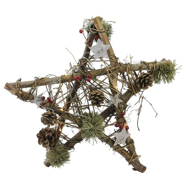 """15.75"""" Wooden Star with Pine Cones and Twigs Rustic Christmas Ornament - brown"""