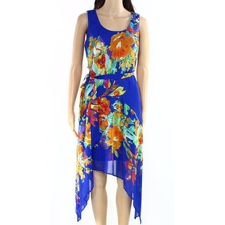 Signature by Robbie Bee NEW Blue Womens 4P Petite Asymmetrical Hem Dress