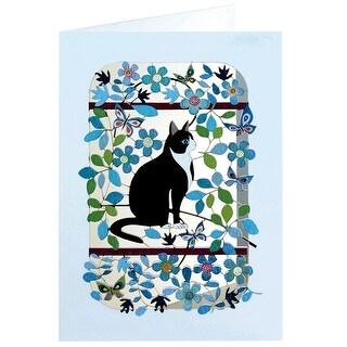 Cut Paper Cat Greeting Card - Blank Inside Tuxedo Cat with Butterflies & Flowers - Blue