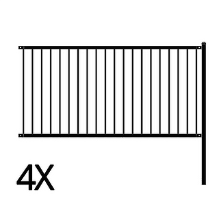 Link to ALEKO Lyon Style Unassembled Steel Fence 8' x 4' Black Lot of 4 Similar Items in Yard Care