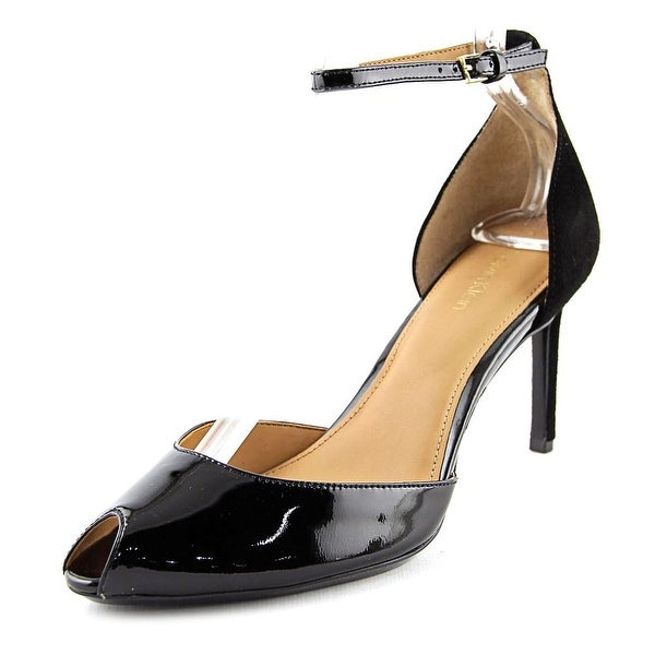 Calvin Klein Saiden Heel Women Peep-Toe Patent Leather Black Heels