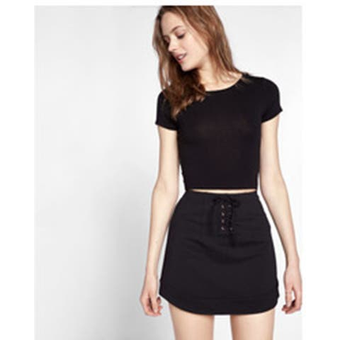 Express Women's Lace Up Skirt , Black, 12