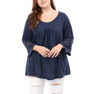 Allegra K Women's Plus Size Kimono Raglan Sleeves Crochet Panel Ruched Front Top