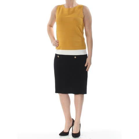 ANNE KLEIN Gold Sleeveless Knee Length Sheath Dress Size 2XS
