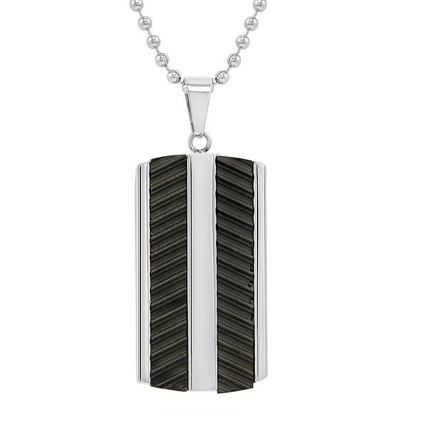 Oxford Ivy Men's Stainless Steel Textured Black Dog Tag Pendant- Necklace on a 22 inch chain