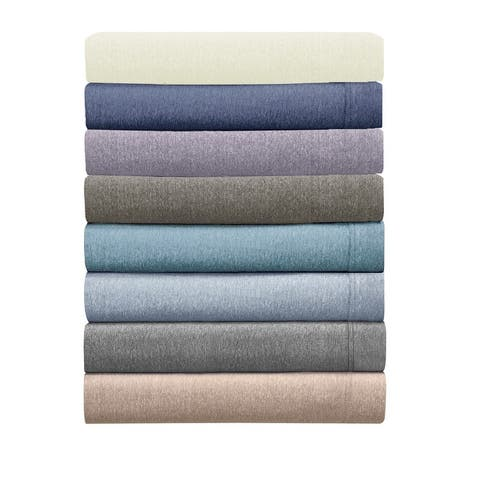Asher Home Heathered Cotton Blend T-Shirt Jersey Bed Sheet Set
