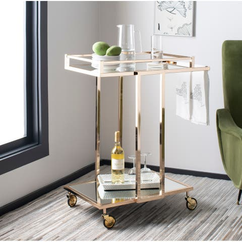 "Safavieh Capri 2 Tier Bar Cart-Gold / Mirror - 28.9"" x 16.5"" x 32.9"""