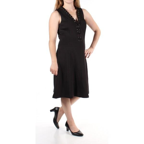 JESSICA SIMPSON Womens Black Sleeveless V Neck Above The Knee ALine Dress Size: 10