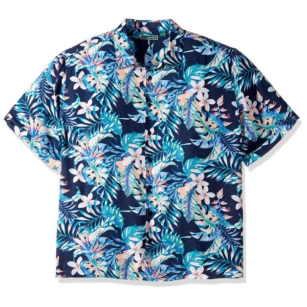 aee19f46fb Shop Cubavera Blue Mens Size XL Guayabera Tropical Floral Print Shirt -  Free Shipping On Orders Over  45 - Overstock - 22348666