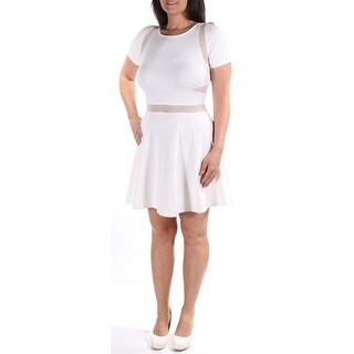 Womens White Short Sleeve Knee Length Fit + Flare Casual Dress Size: L