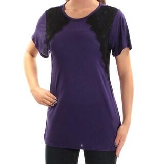 Womens Purple Short Sleeve Jewel Neck Top Size XS