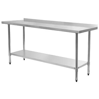 Costway 24u0027u0027 X 72u0027u0027 Stainless Steel Work Prep Table With Backsplash Kitchen