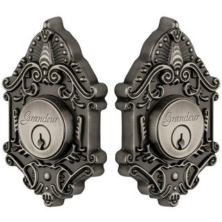 "Grandeur GVCGVC_DBLCYL_234 Grande Victorian Solid Brass Rose Keyed Entry Double Cylinder Deadbolt with 2-3/4"" Backset"