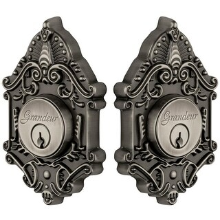 "Grandeur GVCGVC_DBLCYL_238 Grande Victorian Solid Brass Rose Keyed Entry Double Cylinder Deadbolt with 2-3/8"" Backset"