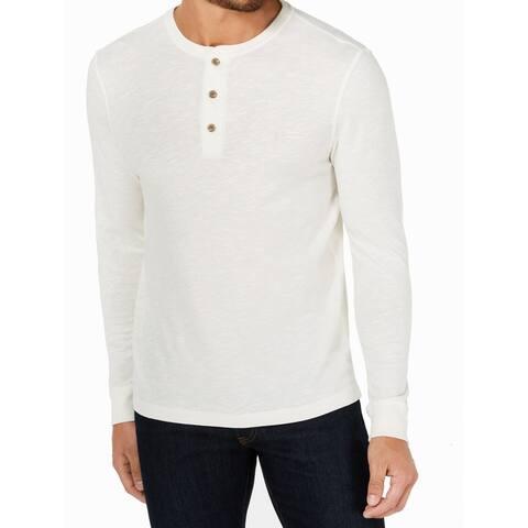 Club Room Men Winter White Ivory Size Medium M Garment Dyed Henley Shirt