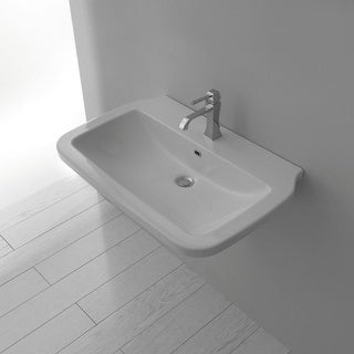 """WS Bath Collections Nova 75 29-1/2"""" Ceramic Wall Mounted / Vessel Bathroom Sink with Overflow"""